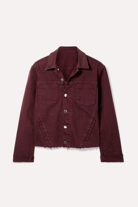 L'Agence Janelle Cropped Frayed Denim Jacket - Burgundy