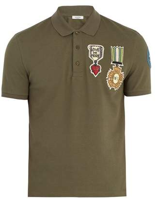 Valentino Embroidered AppliquA Cotton PiquA Polo Shirt - Mens - Khaki