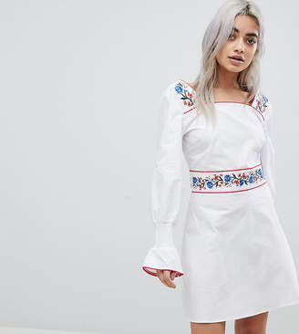 Fashion Union Petite Tea Dress With Balloon Sleeves And Embroidered Trim