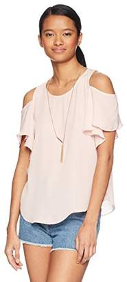 Amy Byer A. Byer Women's Cold Shoulder Ruffle Sleeve Top With Necklace (Junior's)