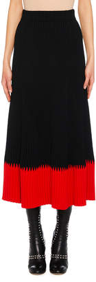 Alexander McQueen A-Line Long Ribbed Skirt w/ Contrast Tip