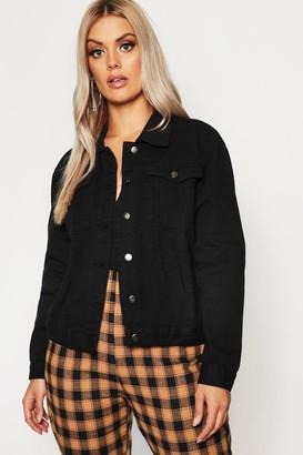 boohoo Plus Slim Fit Western Denim Jacket