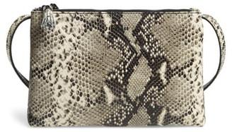 Ted Baker Jamelia Exotic Double Zip Leather Crossbody Bag
