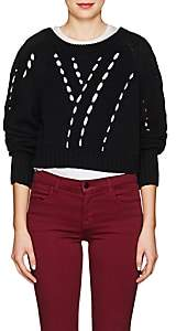 alexanderwang.t. Women's Twill-Paneled Cotton Crop Sweater - Black