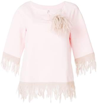 Blumarine feather embellished blouse