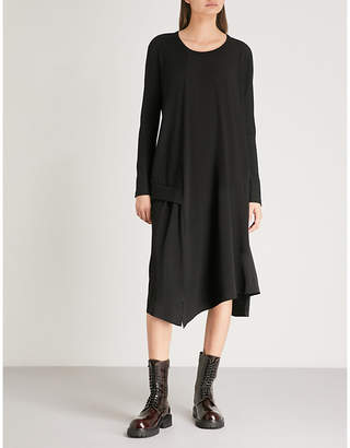 Y's Ys Asymmetric satin and wool dress