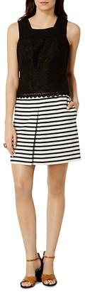 KAREN MILLEN Stripe Broderie Mini Dress $360 thestylecure.com