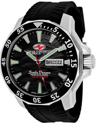 Seapro Scuba Dragon Diver Mens Black Dial Black Silicone Strap Watch