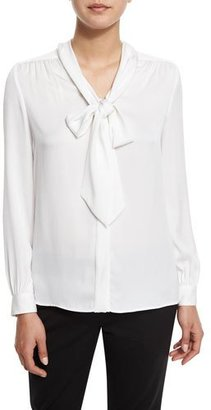 Milly Tie-Neck Silk-Blend Button-Front Blouse, White $325 thestylecure.com