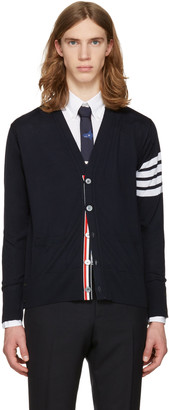 Thom Browne Navy Classic V-Neck Cardigan $950 thestylecure.com