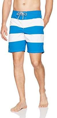Lacoste Men's Elastic Waist Bold Stripe Swim Trunk