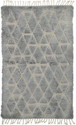 """Foundry Select One-of-a-Kind Blumenthal Hand-Knotted 5'1"""" x 8'3"""" Wool Gray Area Rug Foundry Select"""