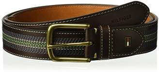 Tommy Hilfiger Men's Casual Belt with Center Stripe-Stitch Detail