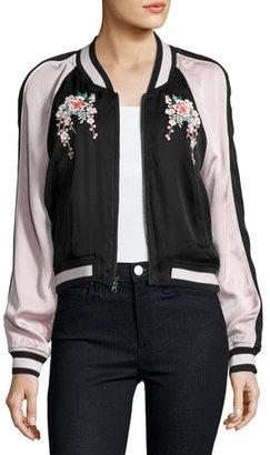 Joie Juanita Floral-Embroidered Bomber Jacket, Black/Pink $398 thestylecure.com