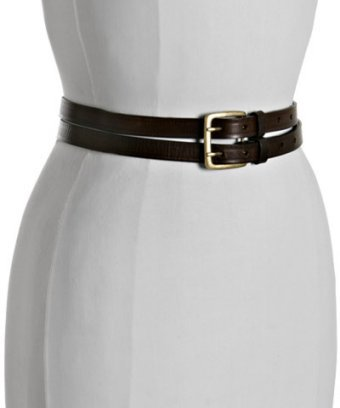 Fashion Focus brown leather dual strap belt