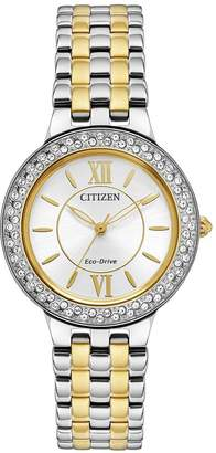 Citizen Eco-Drive Silhouette Crystal Two-Tone Stainless Steel Bracelet Ladies Watch