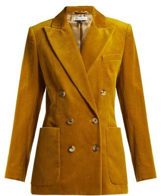 Bella Freud Bianca Double Breasted Cotton Corduroy Jacket - Womens - Dark Yellow