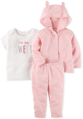 Carter's 3-Pc. So Sweet T-Shirt, Hoodie & Pants Set, Baby Girls (0-24 months) $12.98 thestylecure.com