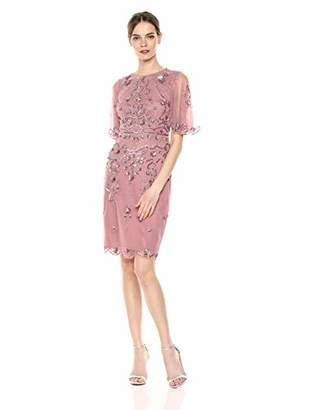 Adrianna Papell Women's Floral Beaded Cocktail Dress with Sheer Flutter Sleeves,4