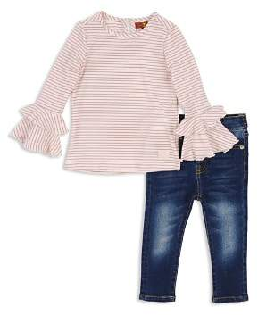 7 For All Mankind Girls' Ribbed Bell-Sleeve Top & Skinny Jeans Set - Baby