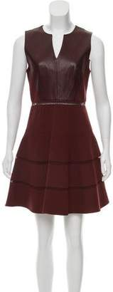 Tibi Leather-Accented A-Line Dress