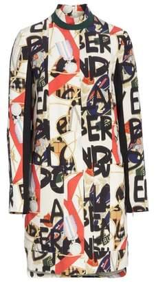 Burberry Zoya Graffiti Archive Print Silk & Wool Dress
