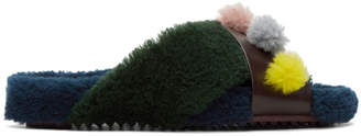 Fendi Multicolor Shearling Flowerland Slides