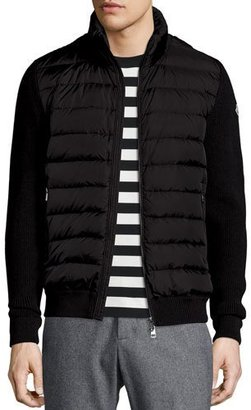 Moncler Zip-Up Sweater with Puffer-Front, Black $695 thestylecure.com