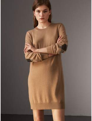 Burberry Check Elbow Detail Merino Wool Sweater Dress