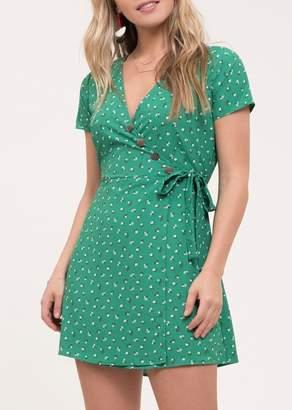 Blu Pepper Wrap Ditsy Floral Print Wrap Dress