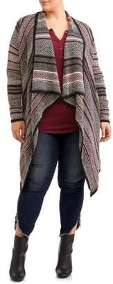 Allison Andrews Women's Plus Size Shawl Collar Drape Front Cardigan