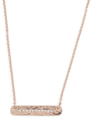Made In Italy Plated Sterling Silver Cz Bar Necklace