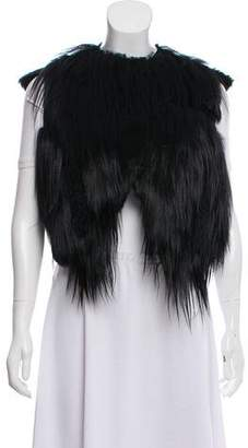 Saint Laurent Suede-Trimmed Fur Vest