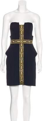 Sass & Bide Embellished Strapless Mini Dress