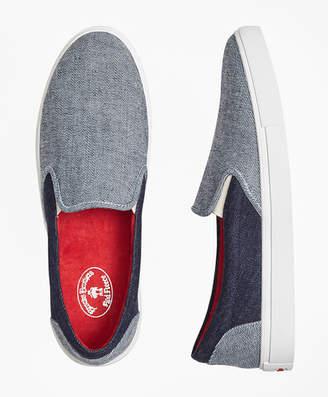 Brooks Brothers Denim Patchwork Slip-On Sneakers