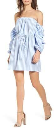 Speechless Off the Shoulder Stripe Minidress
