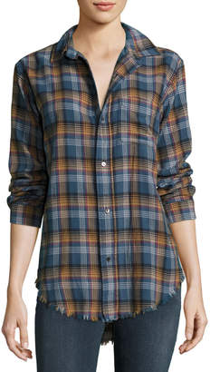 Current/Elliott The Prep School Frayed Shirt, Voyager Plaid