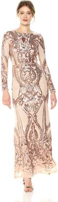 Betsy & Adam Women's Long Sleeve Sequin Gown
