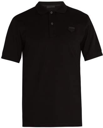 Prada Logo-patch cotton-piqué polo shirt