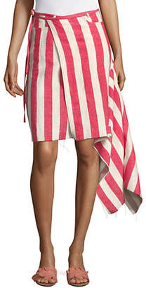 Marques Almeida Striped Linen Ecru Asymmetrical Wrap Skirt