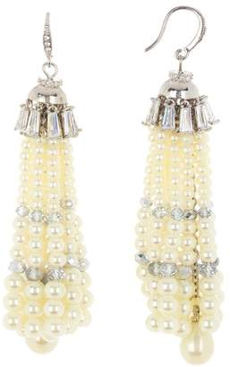 Carolee Crystal & Imitation Pearl Tassel Earrings