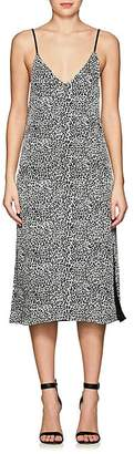 Amiri Women's Leather-Strap Leopard-Print Silk Slipdress
