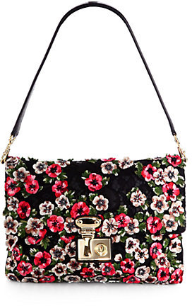Dolce & Gabbana Linda Floral Embellished Lace & Leather Shoulder Bag