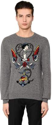 Valentino Tattoo Jacquard Wool Cashmere Sweater