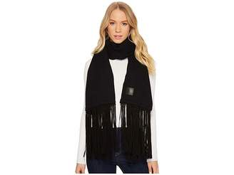 UGG Solid Woven Scarf with Leather Fringe Scarves