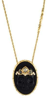 Alexis Bittar Onyx Muse D'or Skull Pendant Necklace