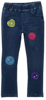Flapdoodles Knit Embroidery Patch Denim (Toddler & Little Girls)