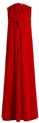 Maison Rabih Kayrouz Sleeveless Neck Tie Cotton Velvet Gown - Womens - Dark Red