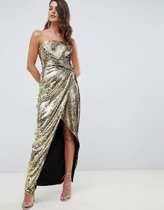 Asos Design DESIGN bandeau maxi dress in allover sequin