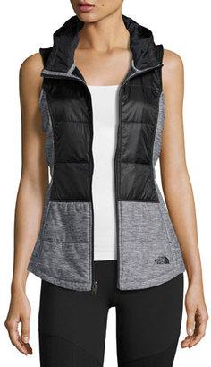 The North Face Pseudio Puffer Tunic Vest, Black/Dark Gray Heather $99 thestylecure.com